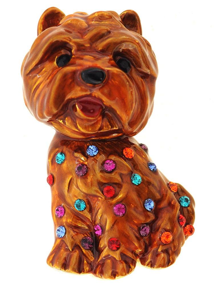 Dark Brown Enamel Dog Pin Brooch by