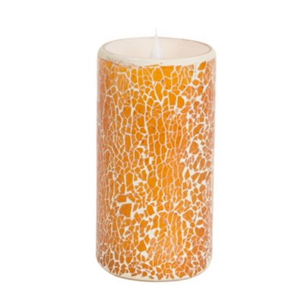 """Pack of 2 Orange and White Glass Mosaic Flameless LED Lighted Pillar Candles with Moving Flames 6"""""""