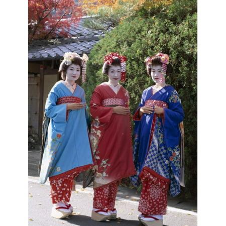 Apprentice Geisha (Maiko), Women Dressed in Traditional Costume, Kimono, Kyoto, Honshu, Japan Print Wall Art Maiko Girl Kyoto Japan