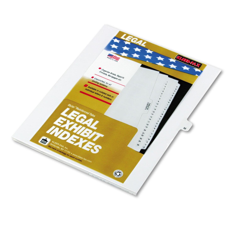 "80000 Series Legal Exhibit Index Dividers, 1/26 Cut Tab, ""M"", White, 25/Pack"