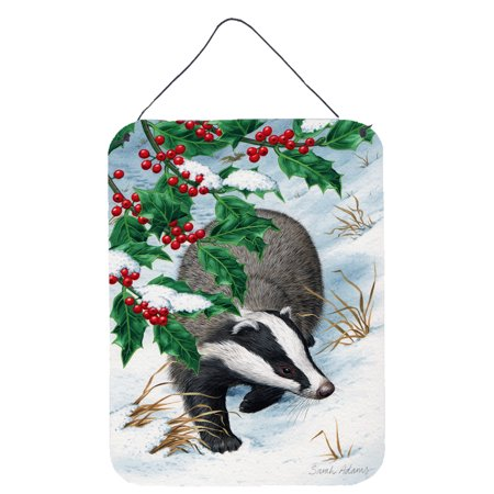 Badgers with Holly Berries Wall or Door Hanging Prints