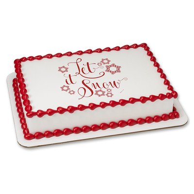 Let it Snow Christmas Edible Icing Image for 6 inch Round Cake ()