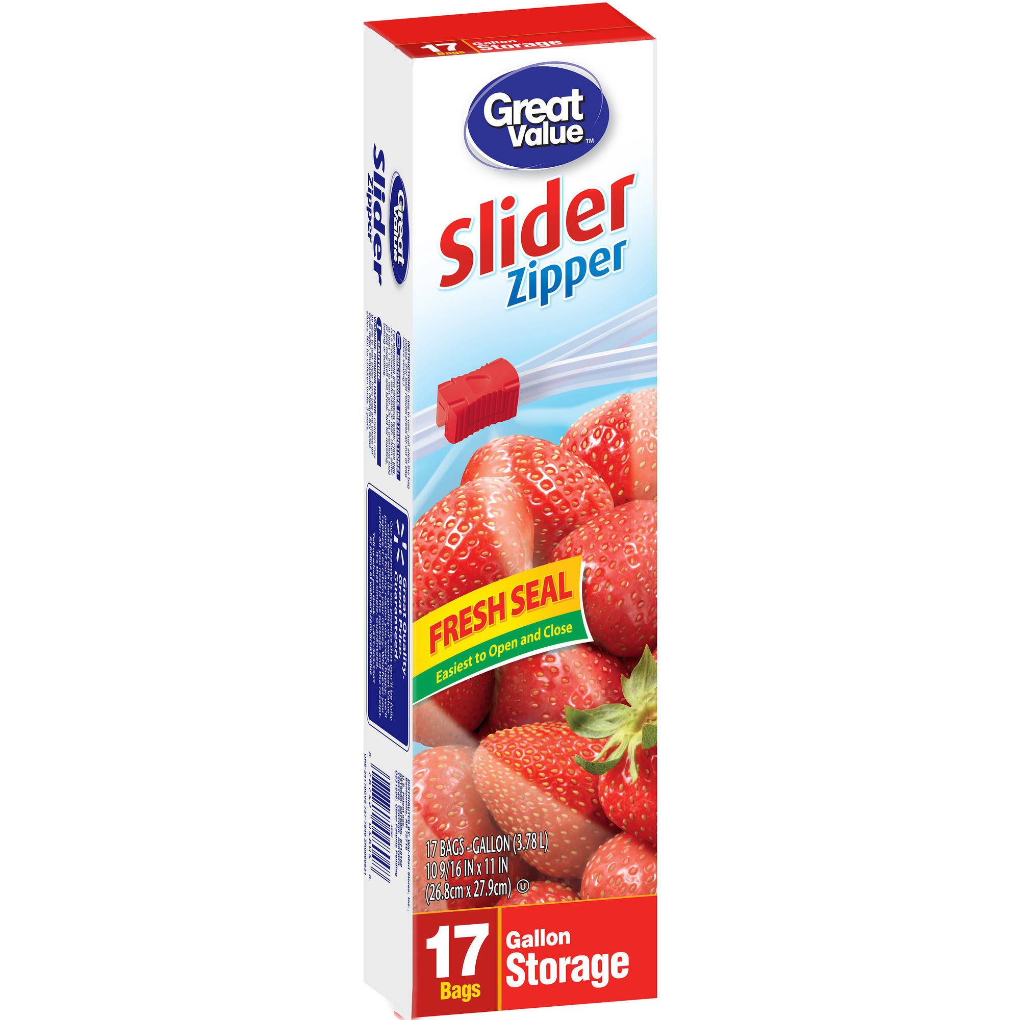 Great Value Storage Gallon Slider / Zipper Food Bags, 17 count