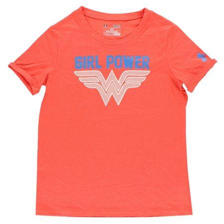 Under armour girls glow wonder woman t shirt orange for Under armour shirts at walmart