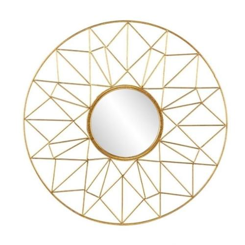 Southern Enterprises Kerala Round Decorative Mirror in Gold