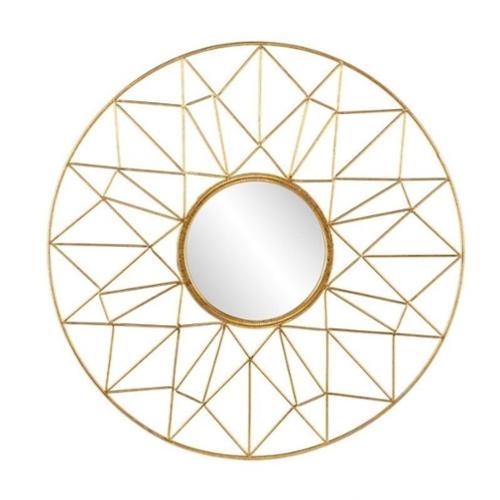 Southern Enterprises Kerala Round Decorative Mirror in Gold