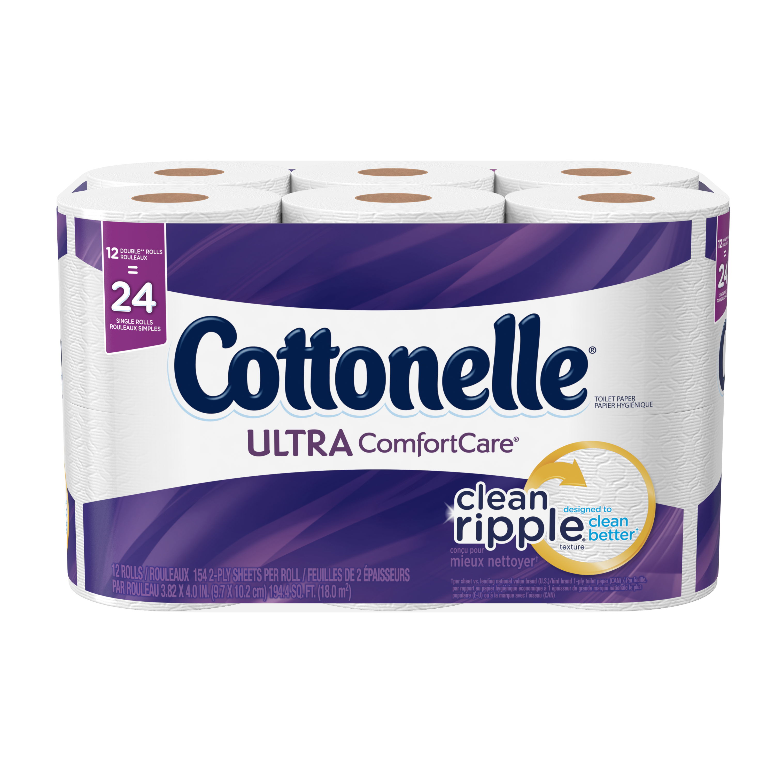 Cottonelle Ultra Comfort Care Double Roll Toilet Paper, 154 sheets, 12 rolls