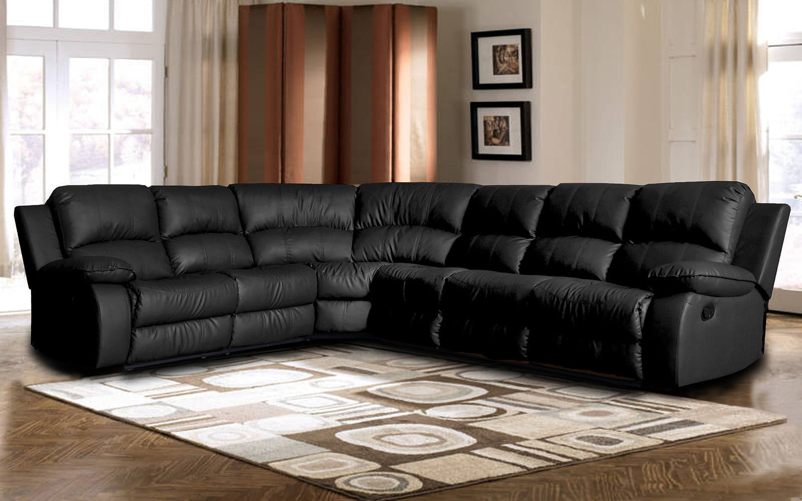 Classic Oversize and Overstuffed Corner Bonded Leather Sectional with 2 Reclining Seats by