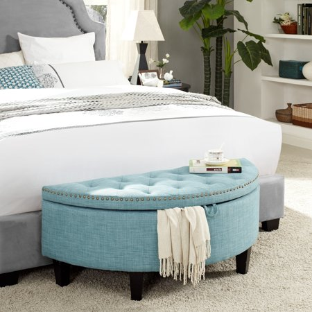 Marvelous Martin Light Blue Linen Storage Ottoman Half Moon Tufted Nailhead By Inspired Home Gmtry Best Dining Table And Chair Ideas Images Gmtryco