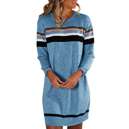 Women\'s Striped Sweater Jumper Dress Winter Long Pullover Tops Plus Size