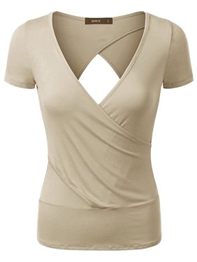 741551e149 Product Image Doublju Women Short Sleeve Deep V Neck Trendy Open Back Wrap  T shirt BEIGE S