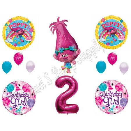 Girl Birthday Supplies (POPPY TROLLS 2nd Birthday Girl Happy Party Balloons Decoration Supplies)
