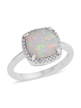 016d773f140236 Product Image Silvertone White Cubic Zirconia Created Opal CZ Statement Ring  for Women Cttw 0.3