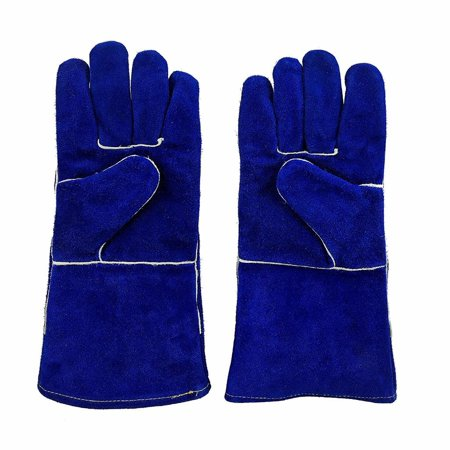 Instapark  Welding Gloves Medium Large Mig Stick Tig Compatible   Split Leather Fleece Lined  Blue 14  One Size Fits All