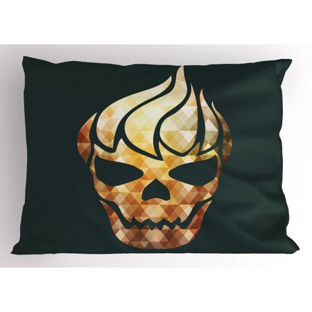 Modern Pillow Sham Gothic Skull with Fractal Effects in Fire Evil Halloween Concept, Decorative Standard Size Printed Pillowcase, 26 X 20 Inches, Yellow Pale Caramel Dark Grey, by Ambesonne - 26 Halloween