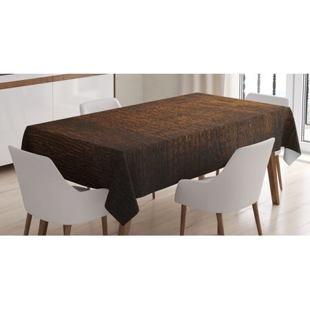 Wooden Decor Tablecloth, Old Vintage Antique Timber Oak Background Rustic Floor Artisan Photo Print, Rectangular Table Cover for Dining Room Kitchen, 52 X 70 Inches, Chestnut Brown, by Ambesonne ()