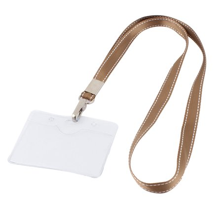 Unique Bargains Plastic Horizontal Brown Neck Strap Name Exhibition Position Badge Card Holder (Potion Names For Halloween)