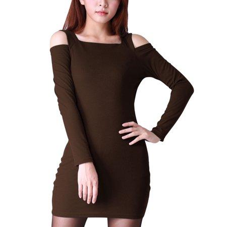 3aa95887d77 Unique Bargains Women s Cold Shoulder Long Sleeve Bodycon Dress Brown (Size  L   12) ...
