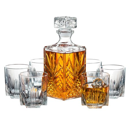 ShopoKus Italian Crafted 7-Piece Italian Crafted Glass Decanter & Whisky Glasses Set, Elegant Whiskey Decanter with Ornate Stopper and 6 Exquisite Cocktail Glasses