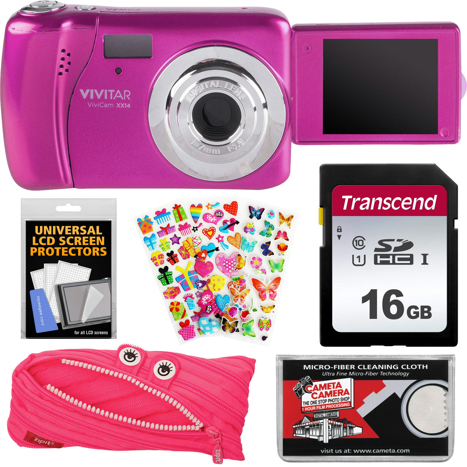 Vivitar ViviCam VXX14 Selfie Digital Camera (Red) with 16GB Card + Zipit Case & Pouch + Puffy Stickers + Cloth + Kit