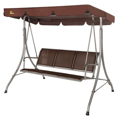 Palm Springs 3 Person Patio Swing Chair Bench with Steel Frame ()