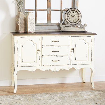 """DecMode 48"""" x 33"""" Farmhouse Beige & Brown Wood Cabinet w/ 3 Drawers & 2 Cabinets ()"""