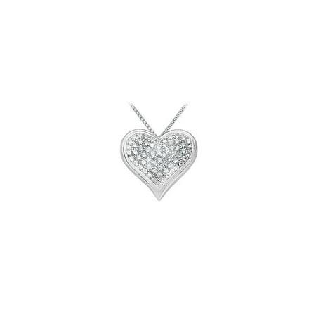 Cubic Zirconia Heart Pendant 14K White Gold 1.25 CT CZs - image 4 de 4