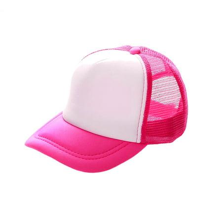 Poly Mesh Cap - Opromo Blank Neon Foam Poly Mesh Trucker Hat Cap, Adjustable Snapback Hi Vis Cap-Neon Pink/White-kids