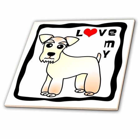 3dRose I Love My Miniature Schnauzer Dog - Wheaten - Red Heart - Ceramic Tile, 4-inch