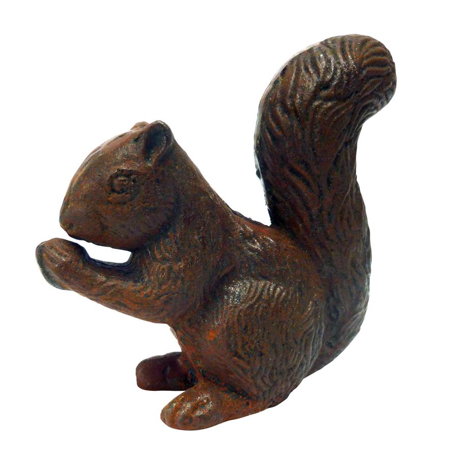 Bushy-tailed Squirrel Cast Iron Statue