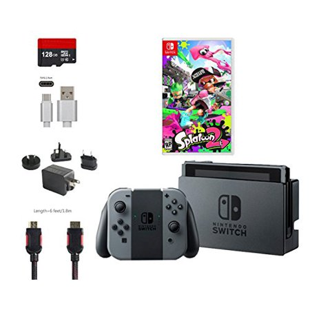 Nintendo Switch Bundle  6 Items   32Gb Console Gray Joy Con  Game Disc Splatoon 2  128Gb Micro Sd Card  Type C Cable  Hdmi Cable Wall Charger