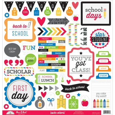 Doodlebug Designs Cardstock Alphabet Stickers - School This and That Cardstock Stickers, 12