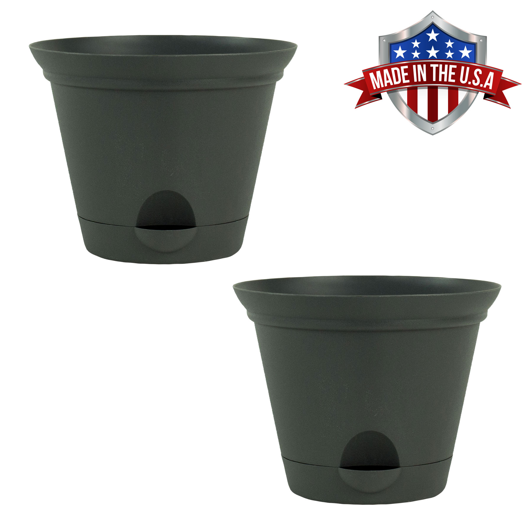 2 Pack of 11.5 Inch Flat Gray Plastic Self Watering Flare Flower Pot or Garden Planter
