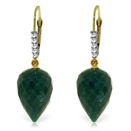 ALARRI 25.95 CTW 14K Solid Gold Drop Briolette Emerald Diamond Earrings.