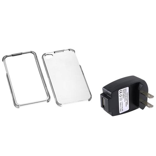 Insten T-Clear Case For Apple iPhone 4 4S + USB Travel Charger Adapter