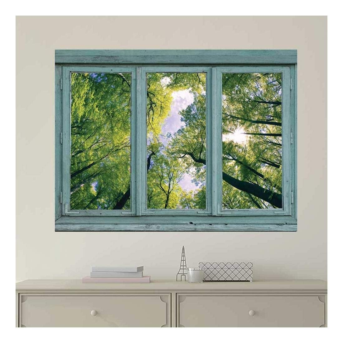 wall26 Vintage Teal Window Looking Out Into a Green Forest and the Sky - Wall Mural, Removable Sticker, Home Decor - 24x32 inches