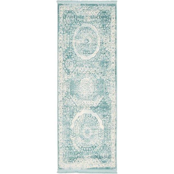 Contemporary Classique Collection Area Rug In Seaglass Color And Rectangle Round Runner Shape Walmart Com Walmart Com