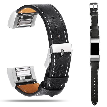 Genuine Leather Wristband Replacement Band Bracelet Strap for Fitbit charge 2(Small - Leather Gothic Wristband