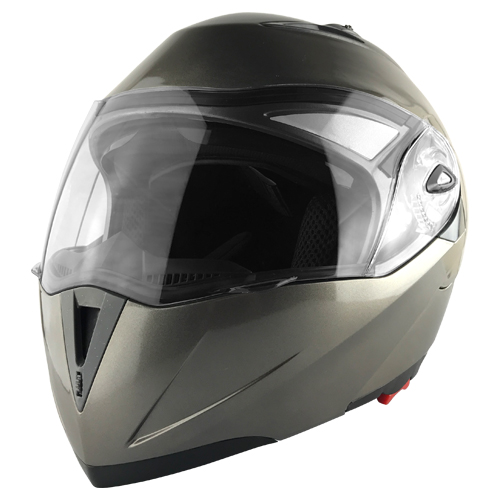 Full Face Motorcycle Helmet With Flip Up Double Visor Silver
