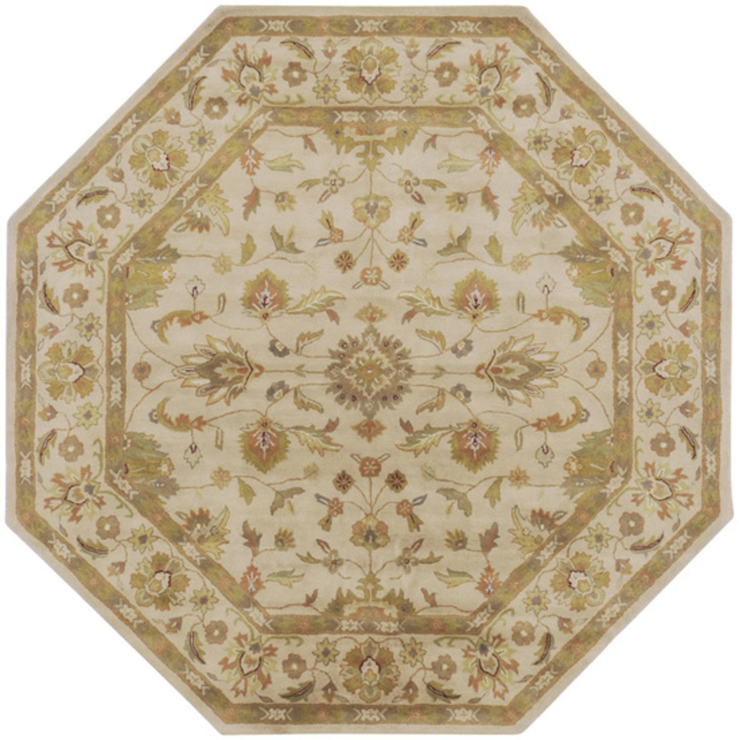 8' Los Cabos Tan and Khaki Green Hand Tufted Wool Octagon Area Throw Rug