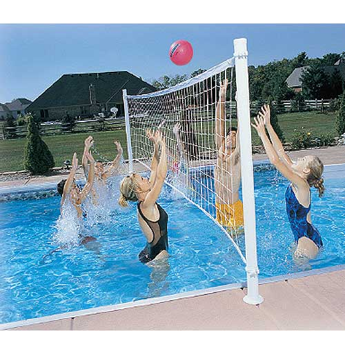 Dunnrite ProVolly Swimming Pool Volleyball Complete Set with Aluminum Posts, 24 Foot Net with Clamps, and Hot Pink Ball.