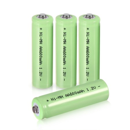 4Pcs 1.2V 600mAh Tip Head Rechargeable AA Ni-MH Battery Green for Home