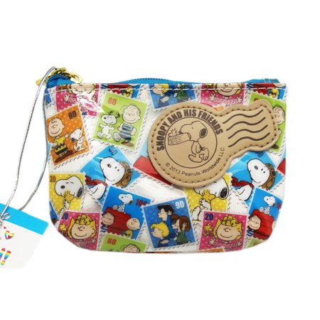 Snoopy Postage Stamp Photo Design Vinyl Zipper Close Coin Purse