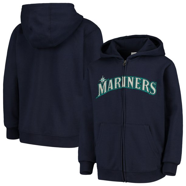 Seattle Mariners Youth Team Color Wordmark Full-Zip Hoodie - Navy