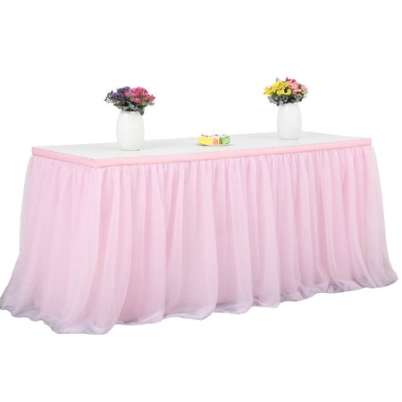 Tulle Table Skirt, 3-layer Table Cloth with Chiffon Lining, Wedding Table Decoration Tableware for Birthday Baby Shower Party Pink 14ft*77cm - Pink Tutu Table Skirt