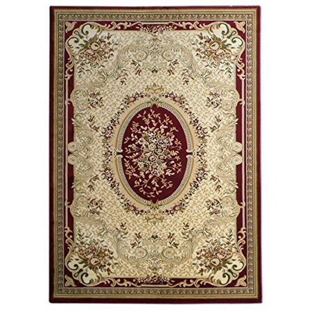Elegance Traditional Area Rug Design 209 Burgundy (5 Feet 2 Inch X 7 Feet 3 - Elegance Contemporary Design 3 Piece