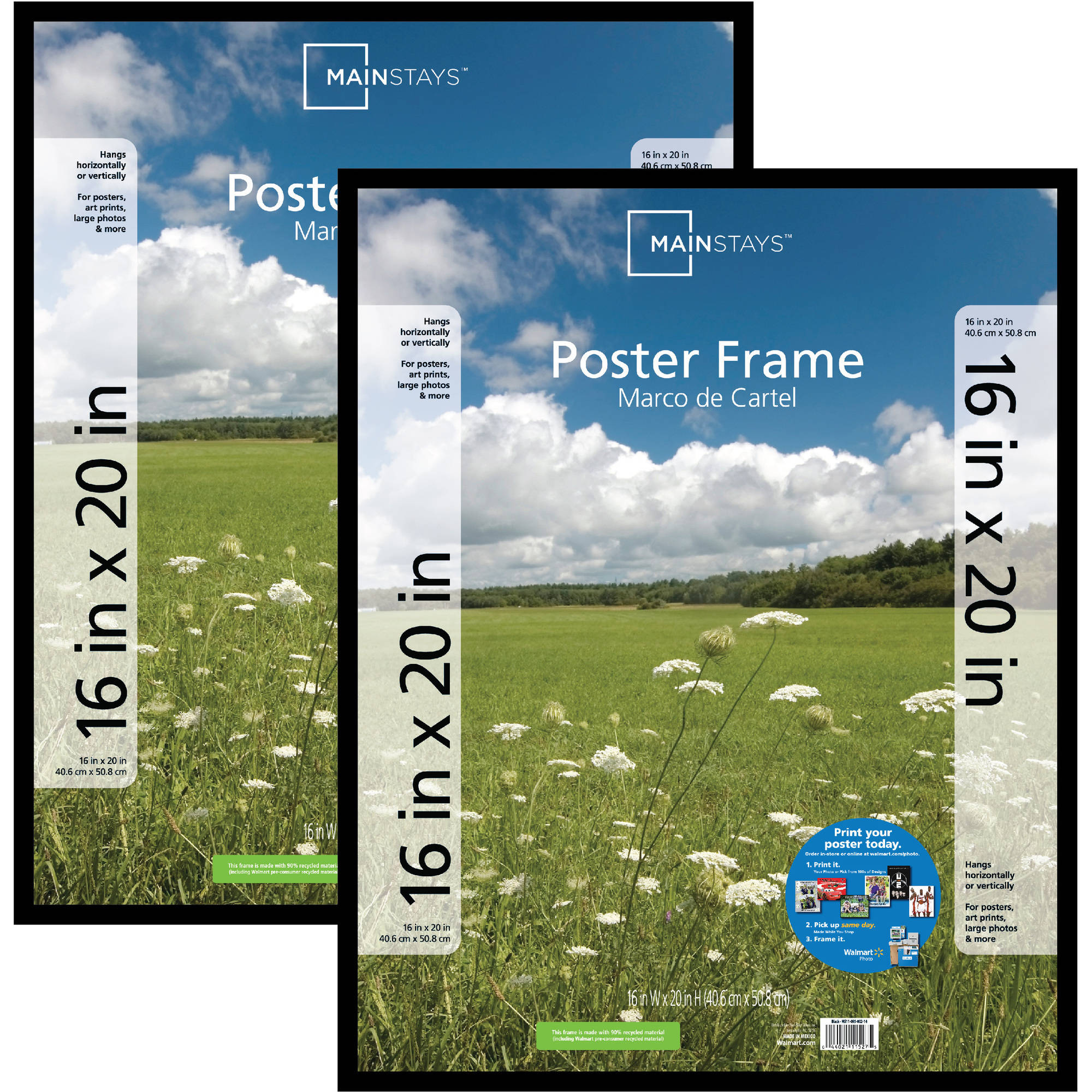 Mainstays 16x20 Basic Poster & Picture Frame, Black, Set of 2