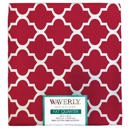 "Waverly Inspirations Cotton 18"" x 21"" Fat Quarter Twist Poppy Print Fabric, 1 Each"