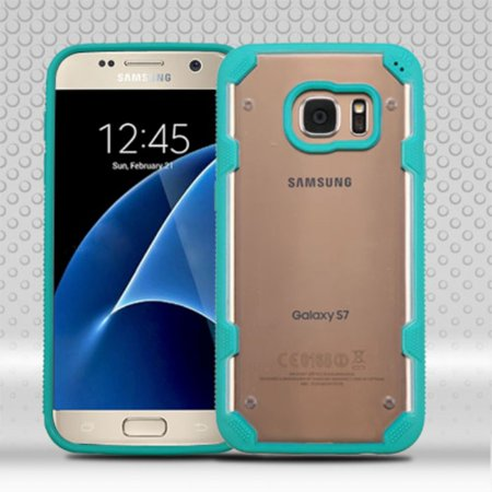 Insten Polygon Hard TPU Cover Case For Samsung Galaxy S7 - Clear/Teal - image 9 of 9