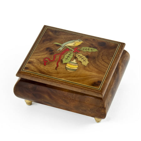 Handcrafted 18 Note Sorrento Music Box with Christmas Theme Wood Inlay of a Christmas Bird - Your Song (Elton (It's Halloween Night Song)